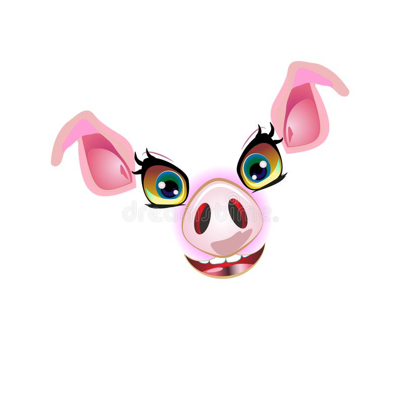 Cute pig face, muzzle illustration. For decorated and styling design in 2019 year vector illustration