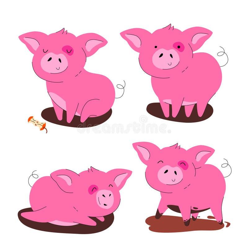 Cute pig - flat design style set of cartoon characters stock illustration