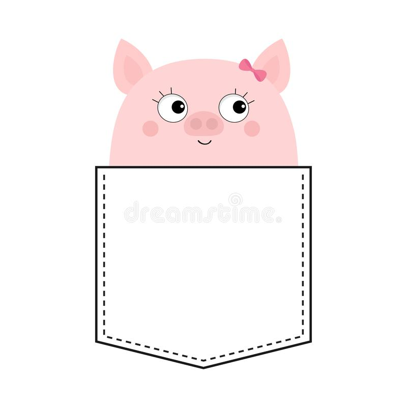 Cute pig girl in the pocket. Happy face. Cartoon animals. Piggy piglet character. Dash line. Animal collection. White and black. Color. T-shirt design. Baby stock illustration