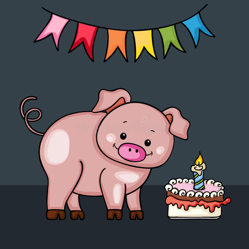 Cute Pig Happy Birthday Card Stock Vector Illustration Of Graphic