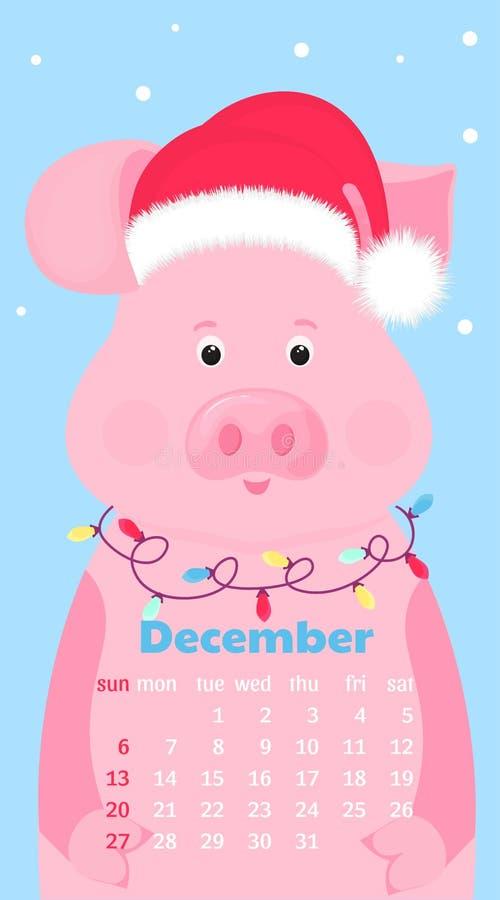 December Calendar 2020 Santa Monthly Calendar For December 2019. Cute Pig In A Hat Of Santa
