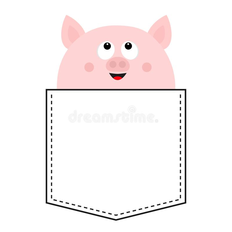 Cute pig in the pocket looking up. Happy face. Cartoon animals. Piggy piglet character. Dash line. Animal collection. White and. Black color. T-shirt design vector illustration