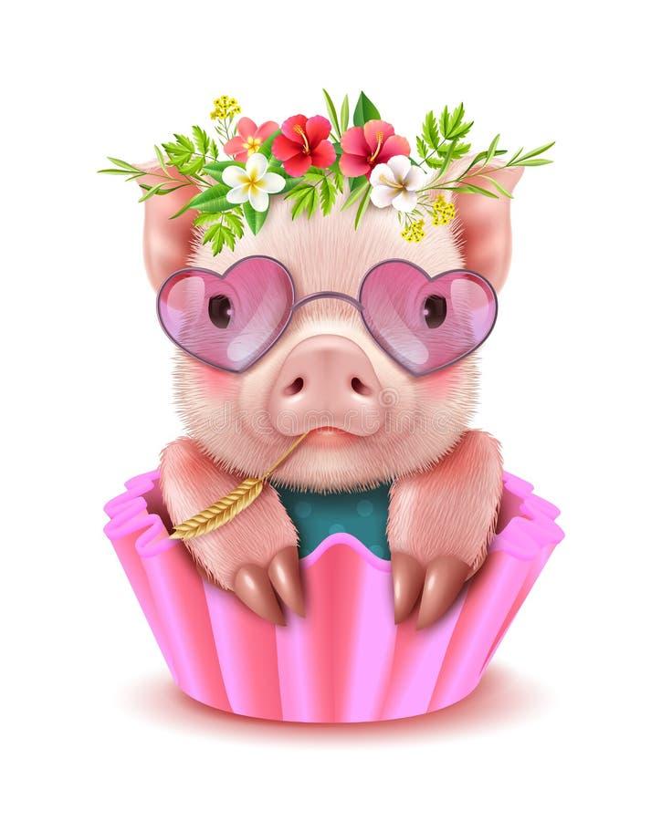 Cute Pig Realistic Portrait stock illustration