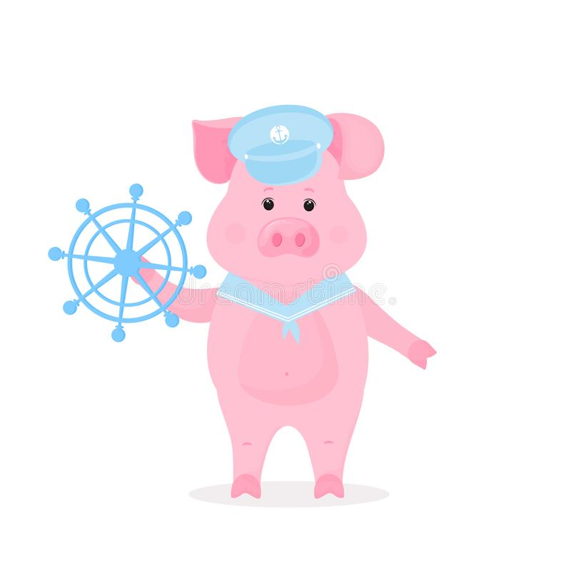 Cute pig in a sailor suit visor and collar holds ship steering wheel. Funny animal. Chinese New Year 2019 vector illustration