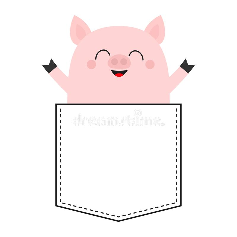Cute pig sitting in the pocket. Happy face. Cartoon animals. Piggy piglet character. Dash line. Animal collection. White and black. Color. T-shirt design. Baby royalty free illustration