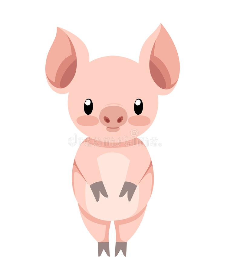 Cute pig standing. Cartoon character design. Flat little piggy. Vector illustration isolated on white background stock illustration