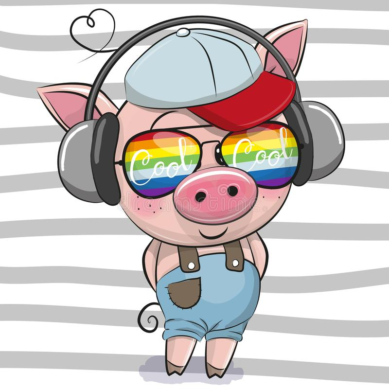 Cute Pig with sun glasses. Cool Cartoon Cute Pig with sun glasses stock illustration