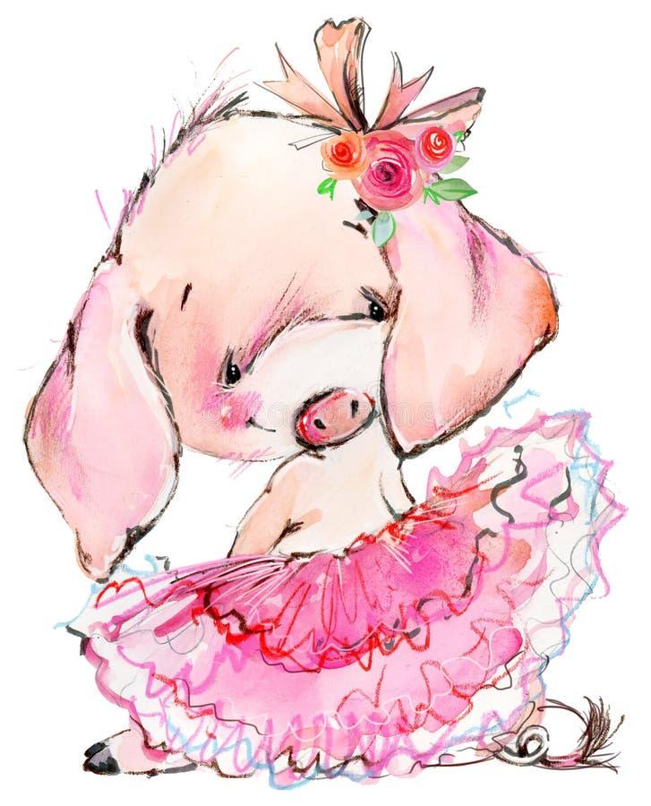 Cute pig watercolor illustration stock photos