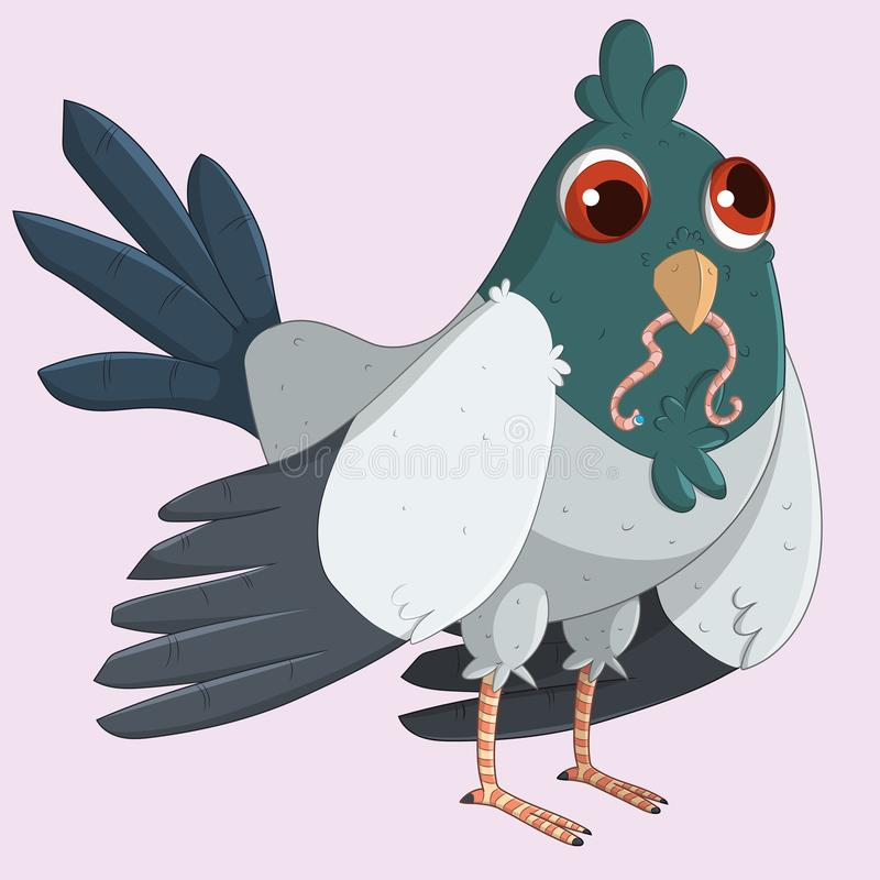 Cute Pigeon eating a worm. vector illustration