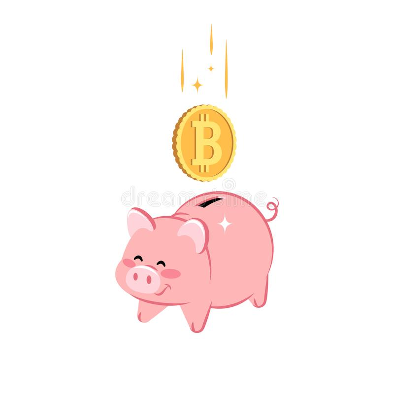 Cute Piggy Bank with falling golden coin of Bit-coin. Concept of saving money, investment, banking. royalty free illustration