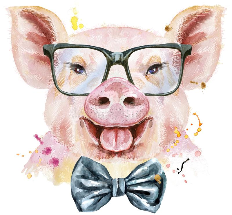 Watercolor portrait of pig with bow-tie and glasses stock illustration