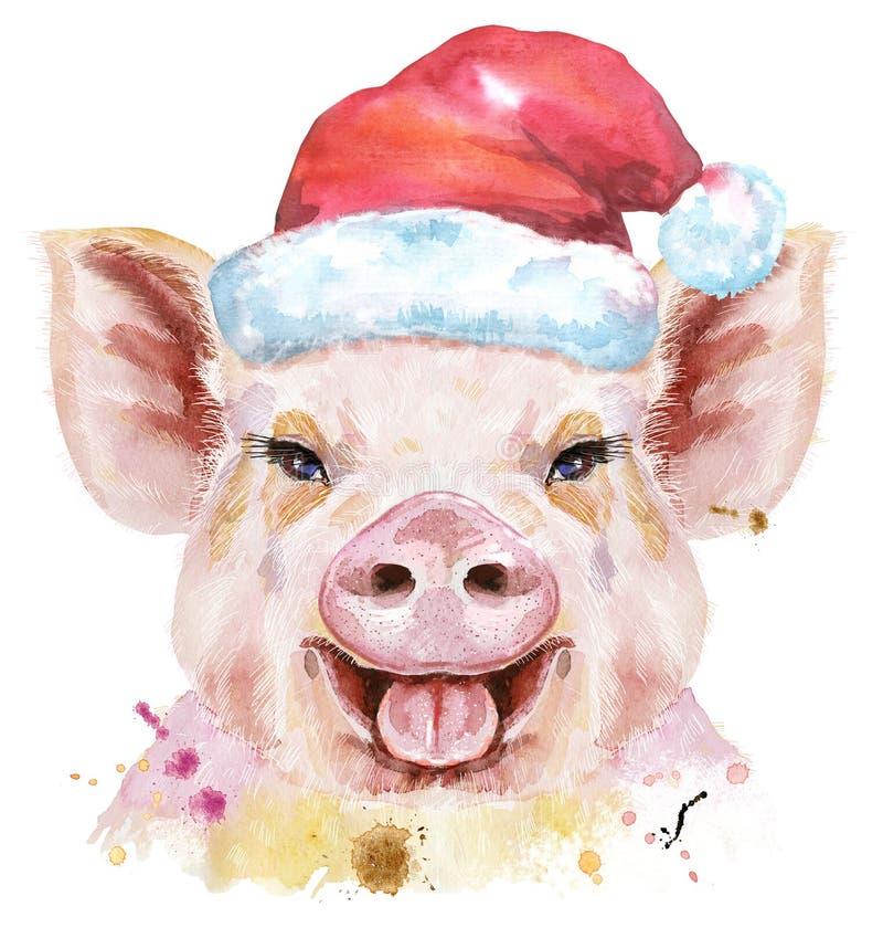 Watercolor portrait of pig in Santa hat stock illustration
