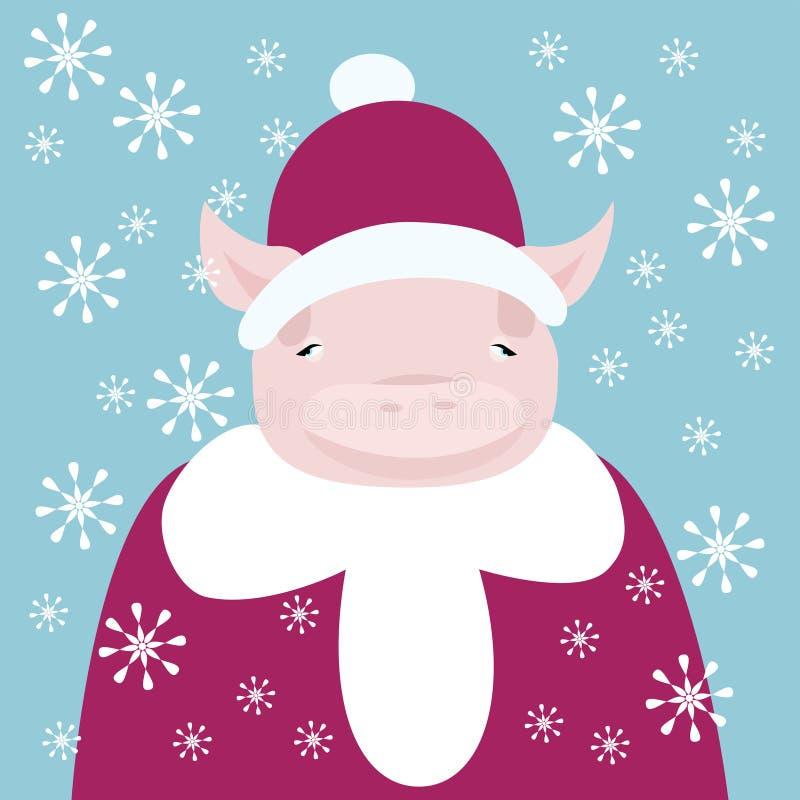 Cute piglet dressed as Santa stock photos