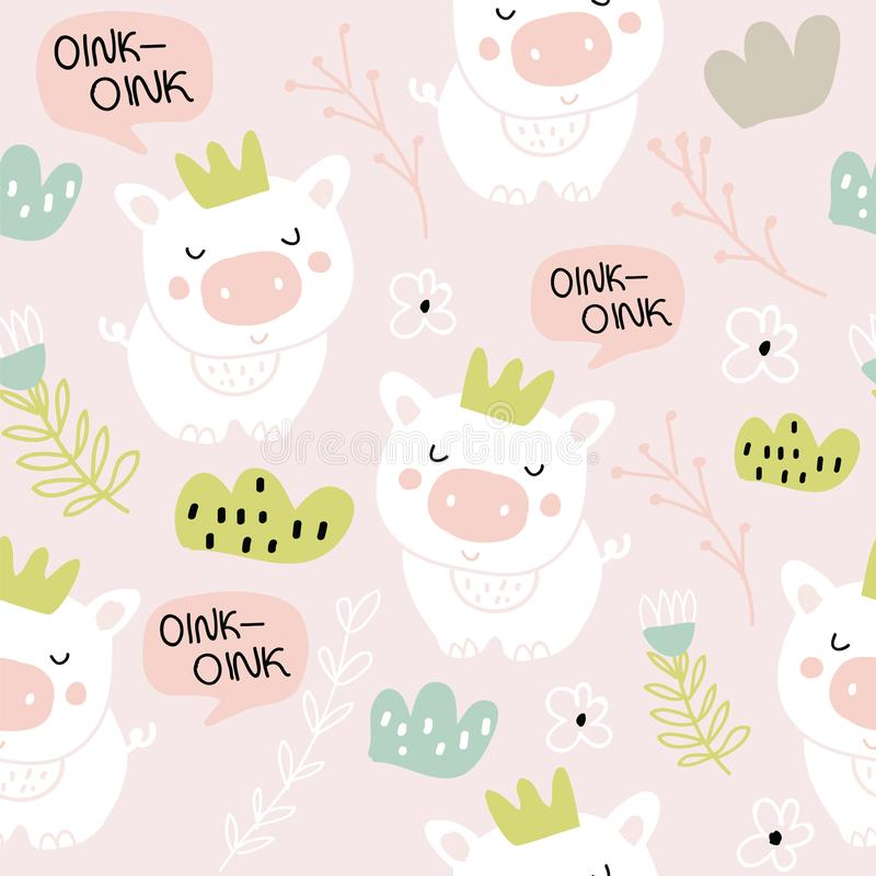 Cute pigs characters pink seamless pattern royalty free stock images