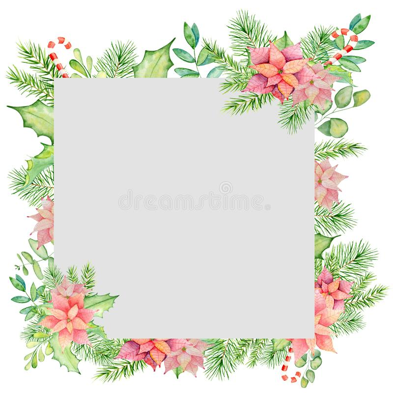 Merry Christmas watercolor frame with floral winter elements. Happy New Year card, posters. stock illustration