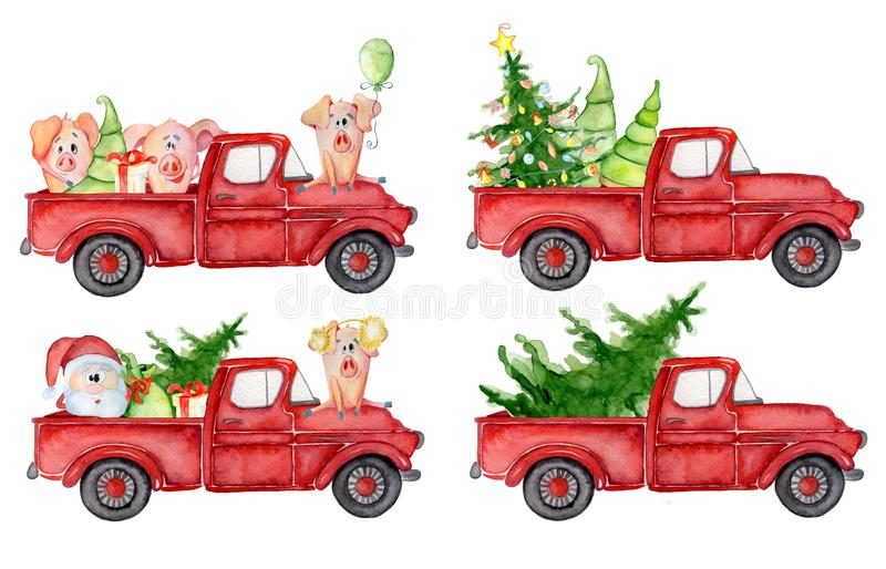 Red Christmas truck with pig, santa and pine trees New year watercolor illustration stock illustration