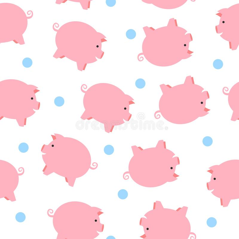 Cute pigs seamless pattern. Funny seamless pattern with cute piglets. Chinese Zodiac pig , cartoon seamless pattern background royalty free illustration