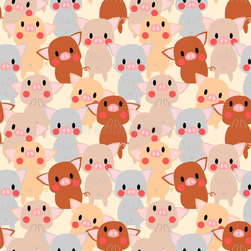 Cute pigs seamless pattern vector illustration