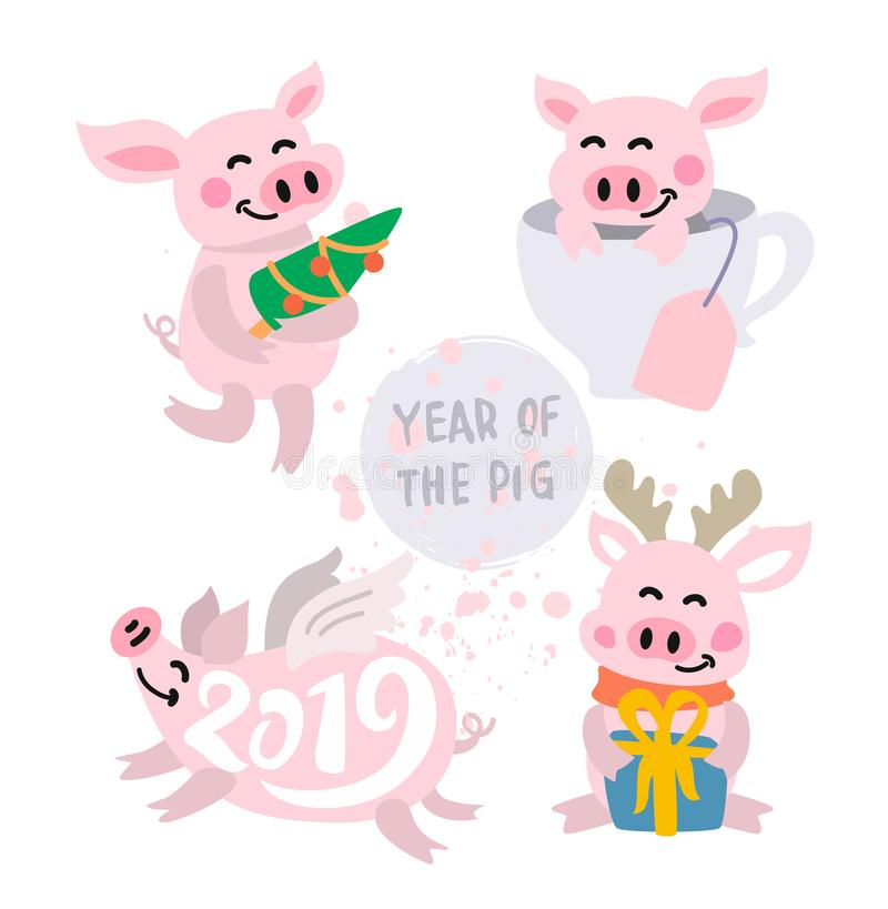 Cute pigs Vector stock illustration