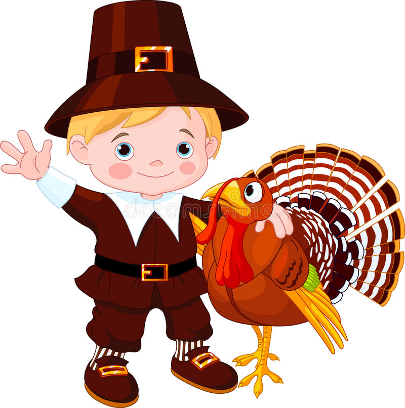 Download Cute pilgrim  and turkey stock vector. Image of event - 21930201