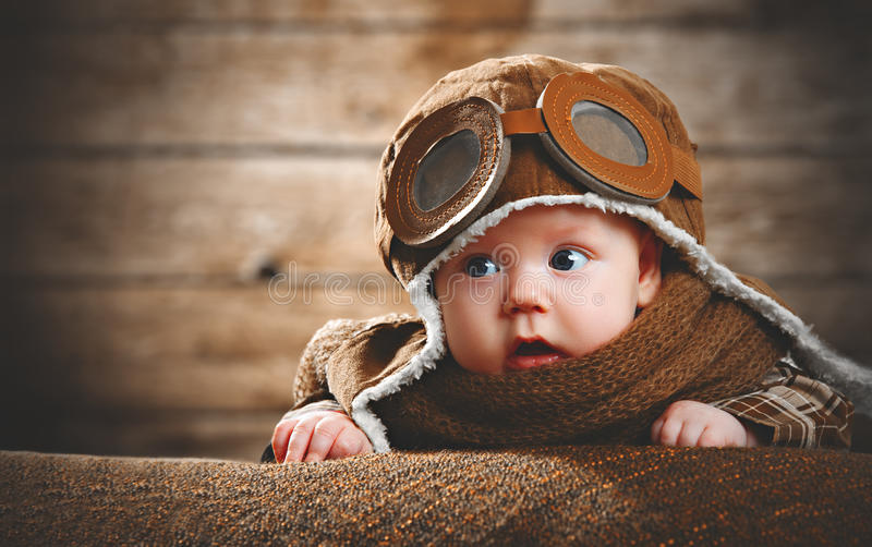 Cute pilot aviator baby newborn royalty free stock images