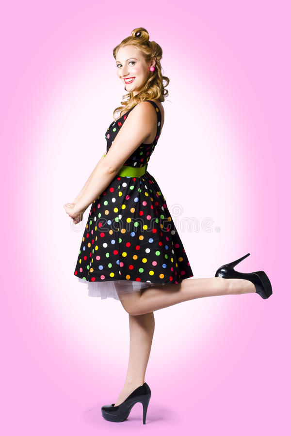 Cute Pin-Up Style Fashion Model In Retro Dress Stock Image - Image ...