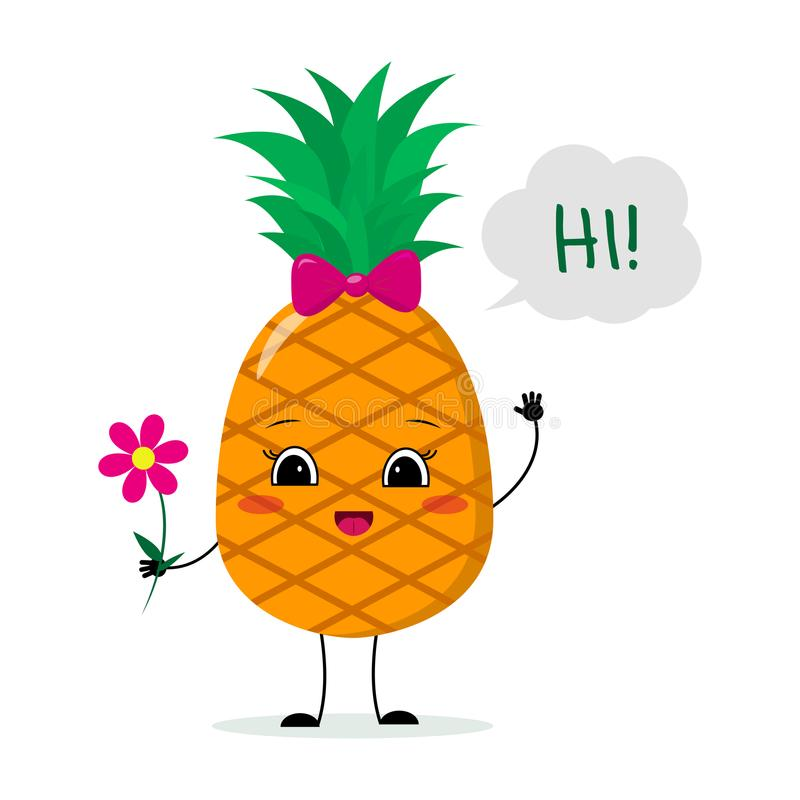 Cute pineapple cartoon character with a pink bow holding a flower and welcomes. royalty free illustration