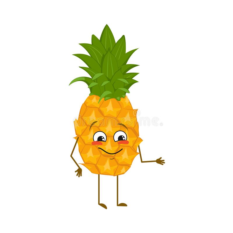 Free Cute Pineapple Character With Joy Emotions, Smiling Face, Happy Eyes, Arms And Legs. A Mischievous Exotic Fruit With Stock Photos - 219872373