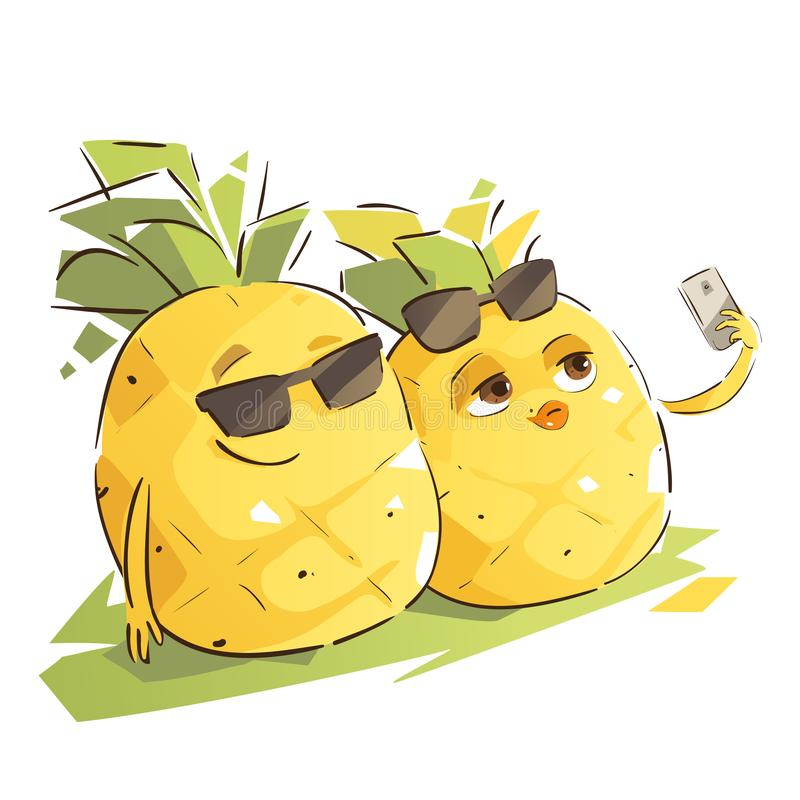 Cute Pineapple Couple. Taking Selfie stock illustration