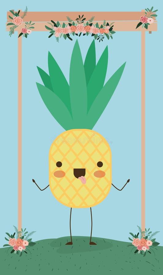 Cute Kawaii Pineapple Cartoon Ripe Fruit Vector Stock