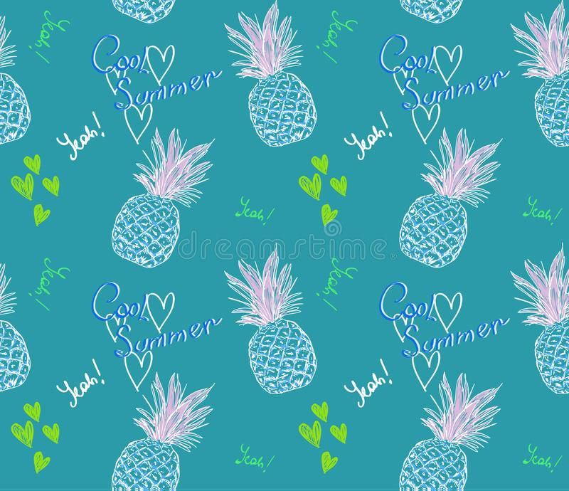 Cute pineapple pattern with text cool summer and heart on blue background. In doodle style stock illustration