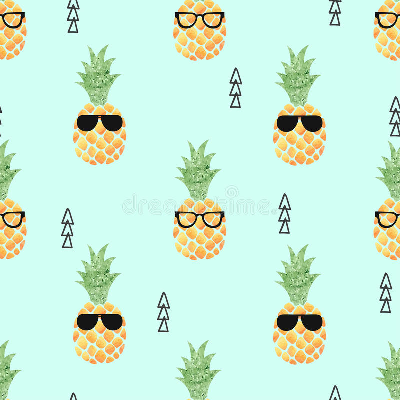 Cute pineapple seamless pattern. royalty free illustration