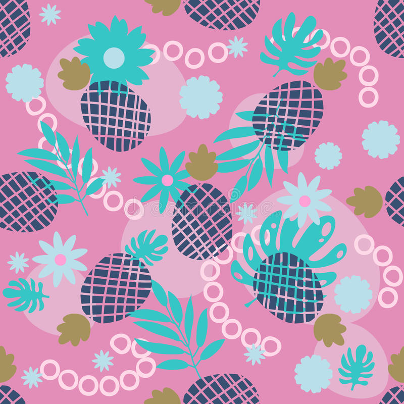 Cute pineapple and tropical leaves seamless pattern. Festive colorful summer fruit random background. vector illustration