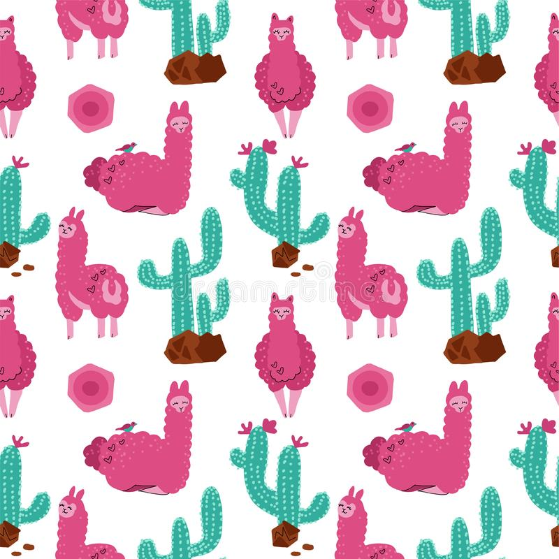 Cute pink alpaca with cacti seamless pattern on white background. Vector baby animal hand drawn illustration for kids. Child vector illustration