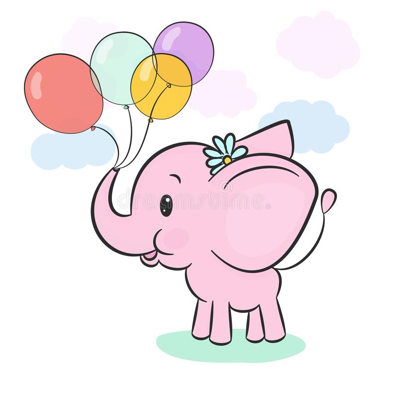 Cute pink baby elephant holding balloons in trunk on cartoon background with pastel clouds and lawn. vector illustration