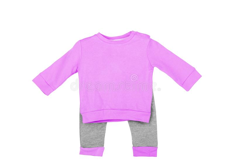Cute pink baby onesie jumpsuit on front over white background stock image