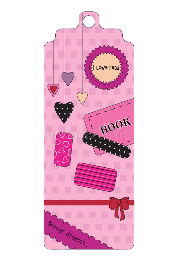 Cute pink bookmark. Cute pink bookmark for printing royalty free illustration