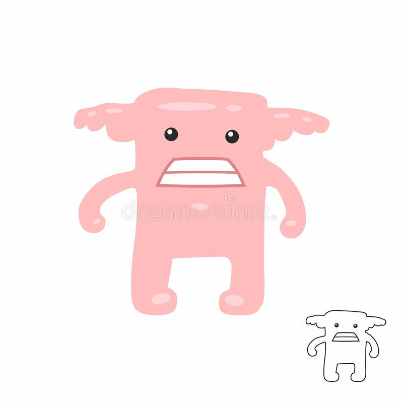 Cute Pink Cartoon Monster Stock Vector Illustration Of Comic