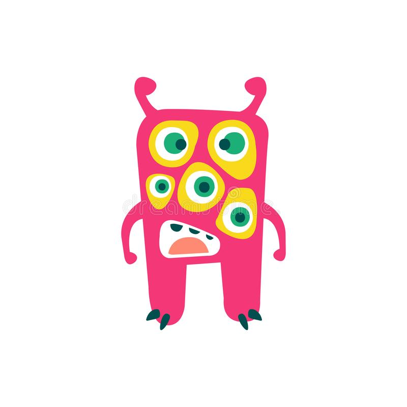 Cute pink cartoon monster, fabulous incredible creature, funny alien vector Illustration vector illustration