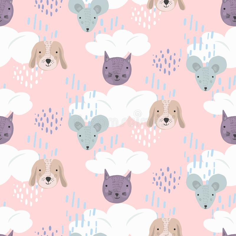 Cute pink cartoon pattern with cats, dogs and mice. Cute cartoon seamless pattern with gray mice, brown dogs and purple cats heads on pink sky with clouds and vector illustration