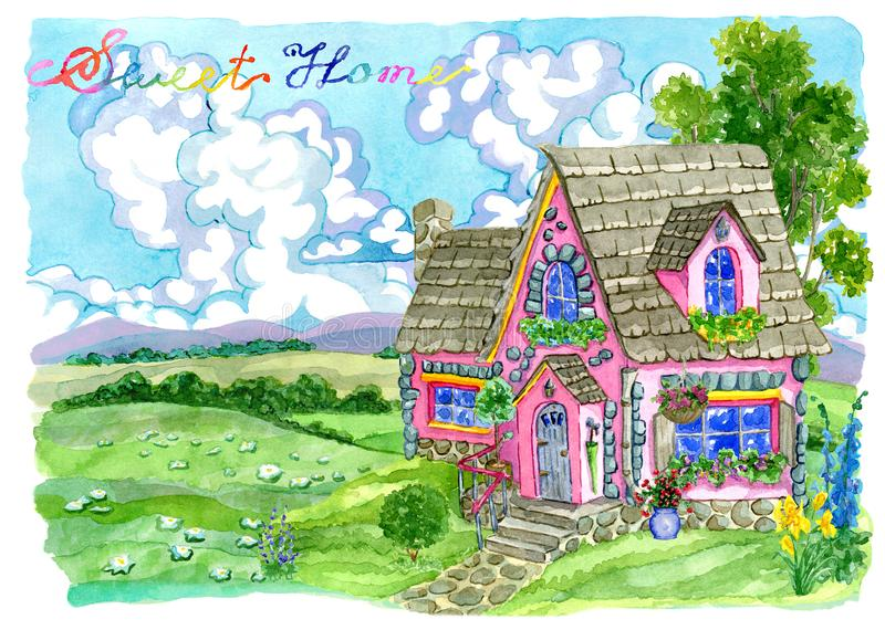 Cute pink cottage with garden flowers against grassland royalty free illustration