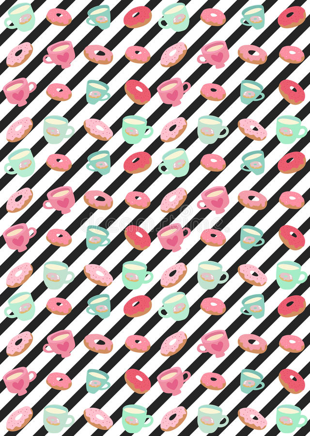 Download Cute Donuts And Cups Pattern Stock Illustration - Illustration: 30316125