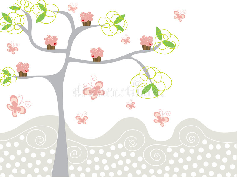 Cute Pink Cupcakes On A Tree Royalty Free Stock Image