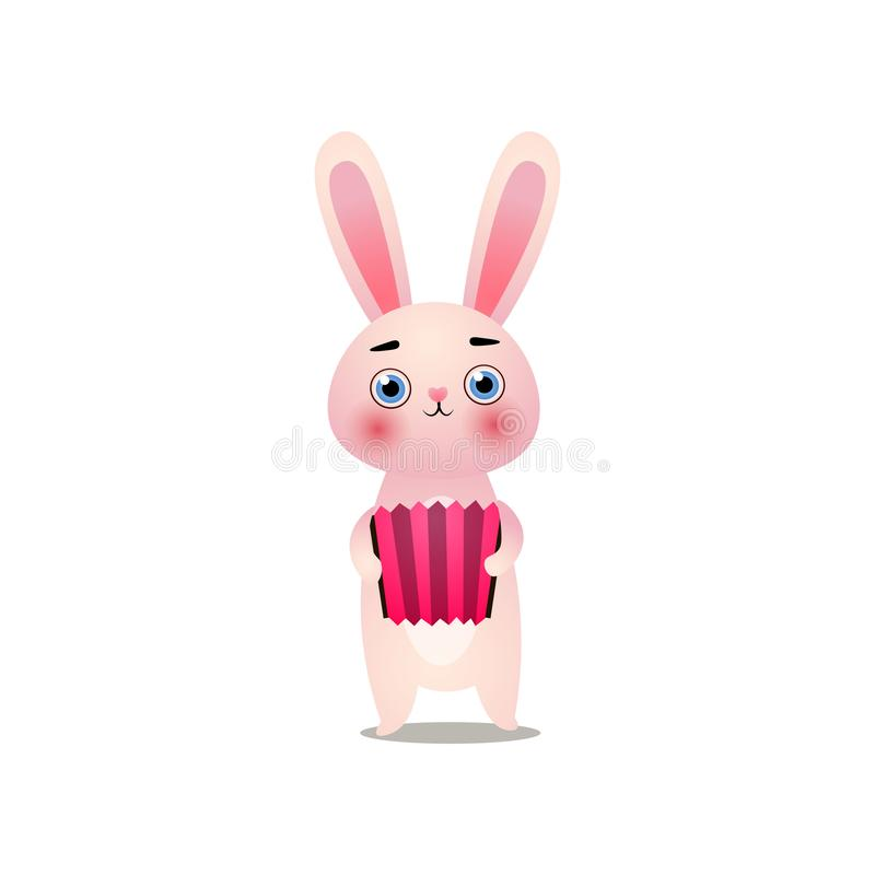 Cute pink easter bunny is playing at old accordion. Cute pink easter funny bunny is playing at old accordion. Cartoon style. Vector illustration on white royalty free illustration