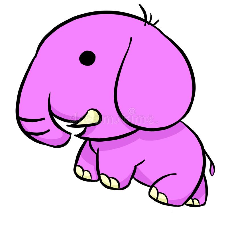 Cute pink Elephant, Illustration stock image