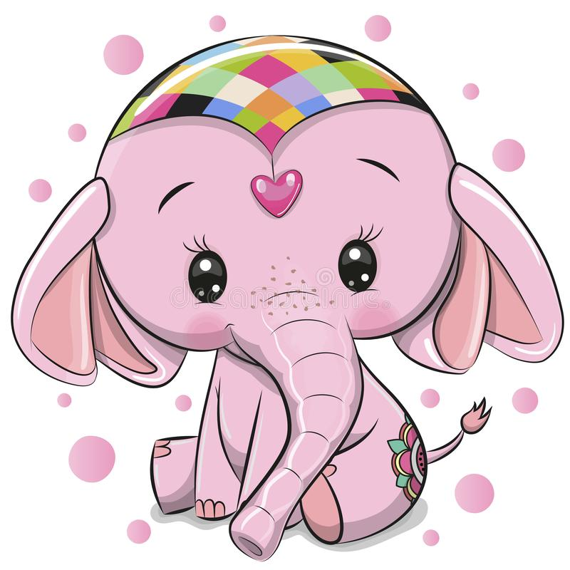 Cute Pink Elephant isolated on a white background stock illustration
