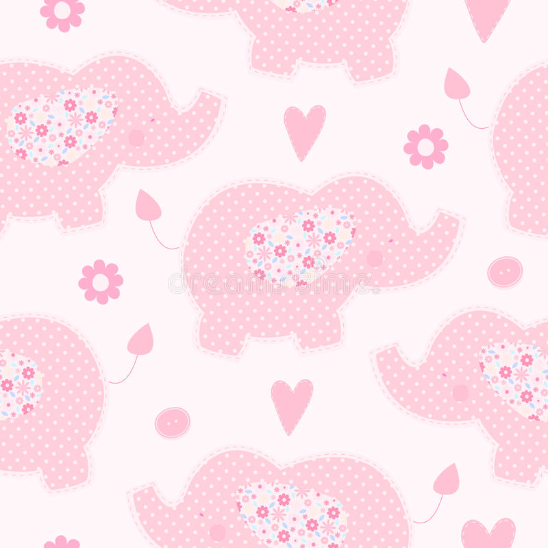 Cute pink elephant seamless vector background stock illustration