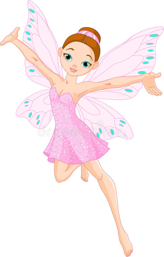 Cute pink fairy. Illustration of a cute pink fairy in flight stock illustration