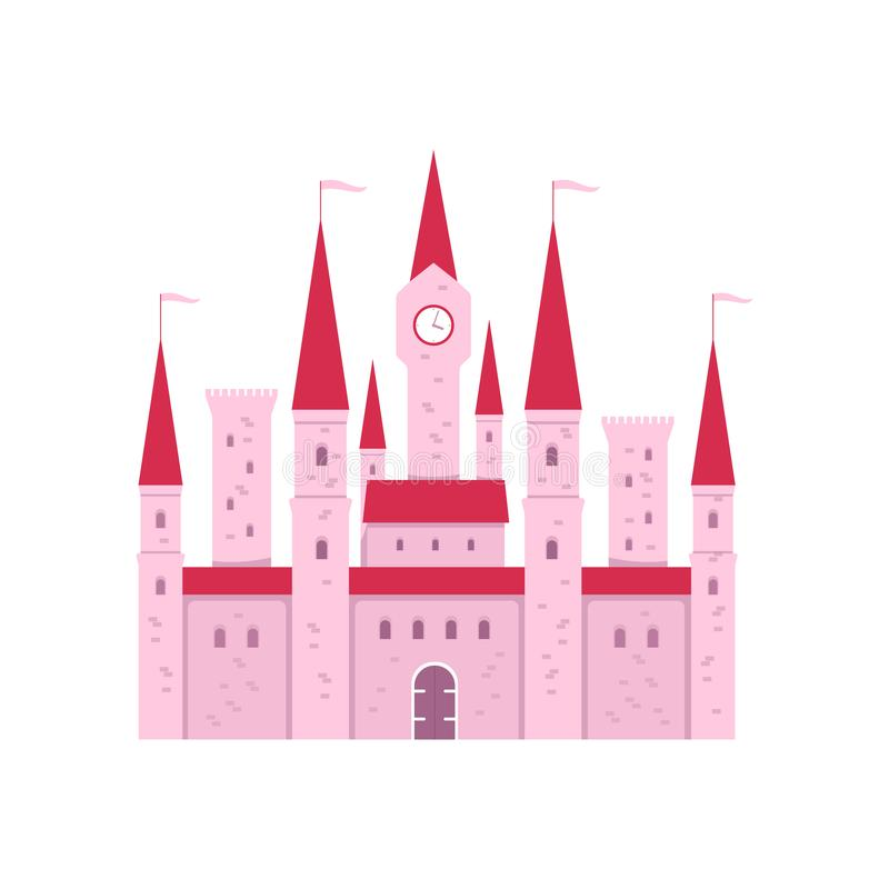 Cute pink fantasy castle with gate and tower clock in flat cartoon style stock illustration