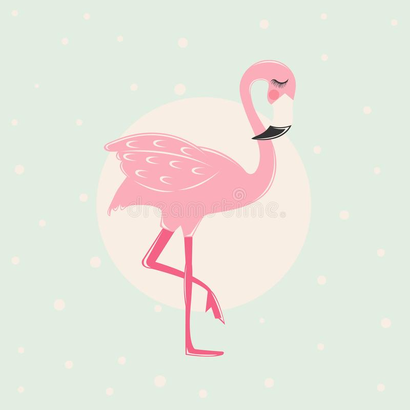 Cute Pink flamingo. With tropical leaves, pineaplle and flowers stock illustration